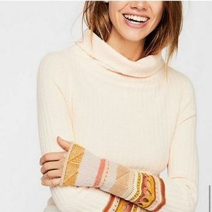 Free People Crochet Cuffed Ribbed Sweater